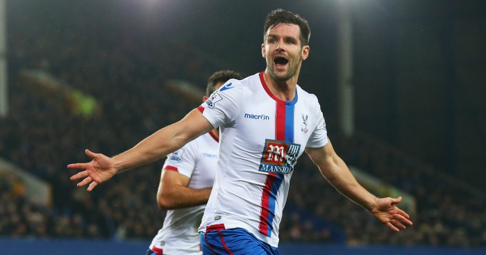 Scott Dann: Celebrates Palace's goal at Goodison Park