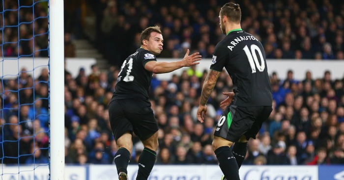 Xherdan Shaqiri: Opens the scoring at Goodison