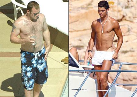 Wayne Rooney Cristiano Ronaldo topless