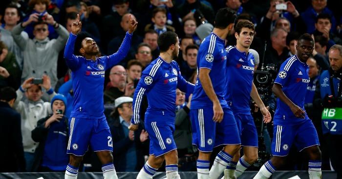 Willian: Celebrates Chelsea's second goal against Porto