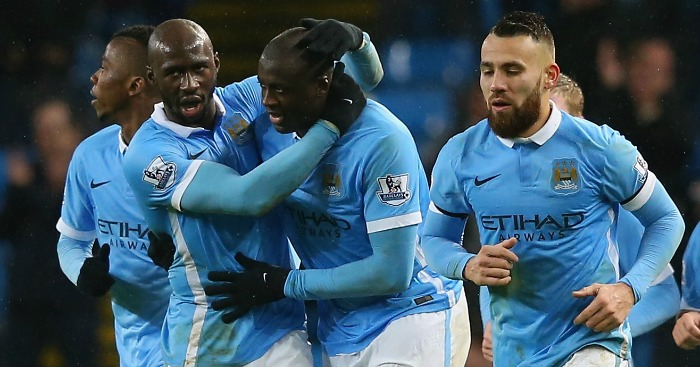 Yaya Toure: Celebrates Man City's late winner against Swansea
