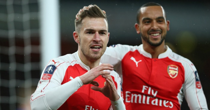 Aaron Ramsey: Celebrates his goal with Theo Walcott