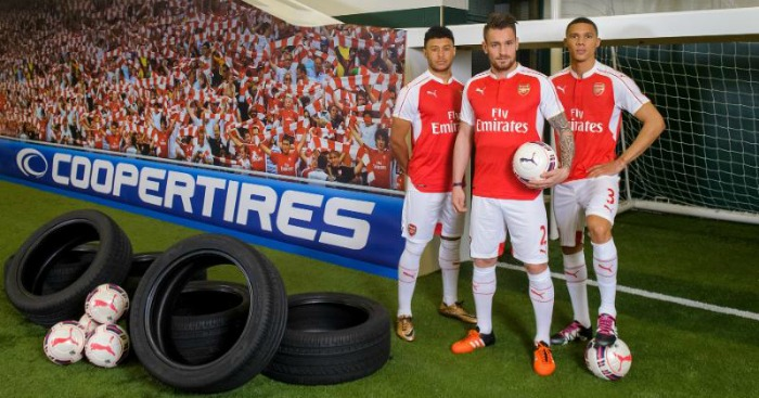 Alex Oxlade-Chamberlain, Mathieu Debuchy and Kieran Gibbs: Took on tyre challenge