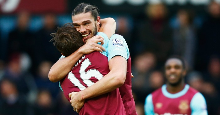 Andy Carroll: Celebrates West Ham's second with Mark Noble