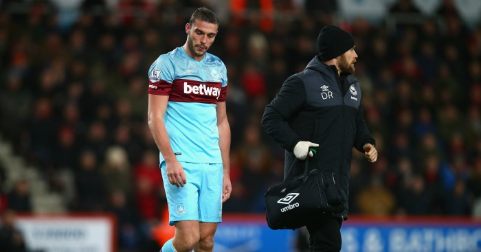 Andy Carroll: Striker substituted in first half at Bournemouth