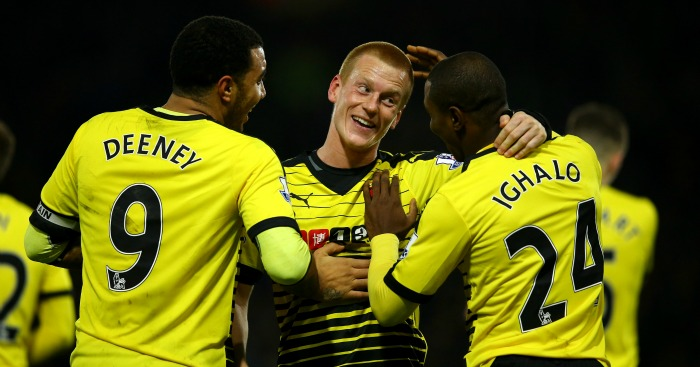 Ben Watson: Celebrates Watford's goal against Manchester City