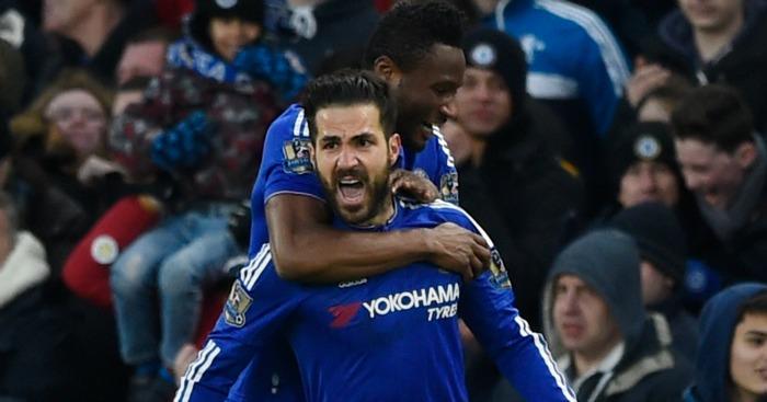 Cesc Fabregas celebrates Chelsea v Everton