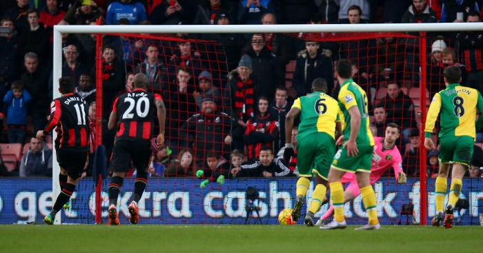 Charlie Daniels scores Bournemouth penalty v Norwich City