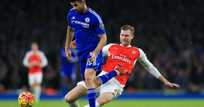Diego Costa Per Mertesacker Arsenal v Chelsea