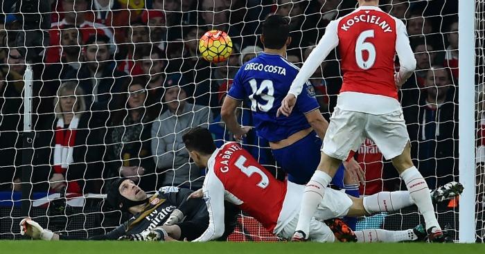 Diego Costa scores Arsenal v Chelsea
