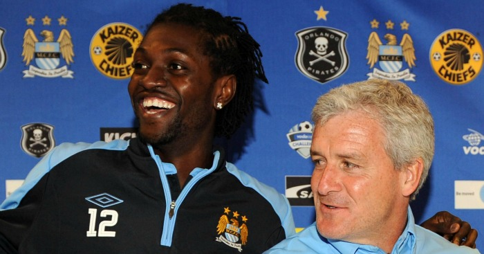 Emmanuel Adebayor: Could face former manager on Saturday