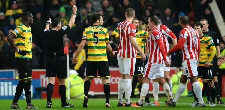 Gary O'Neil: Shown a red card for a foul on Ibrahim Afellay
