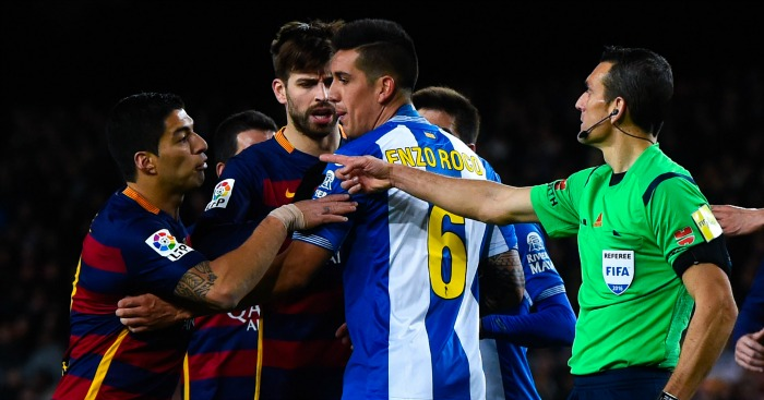 Luis Suarez: Involved in confrontation in win over Espanyol