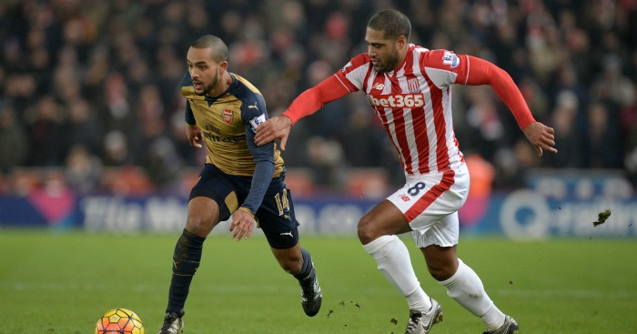 Theo Walcott: In action against Stoke on Sunday