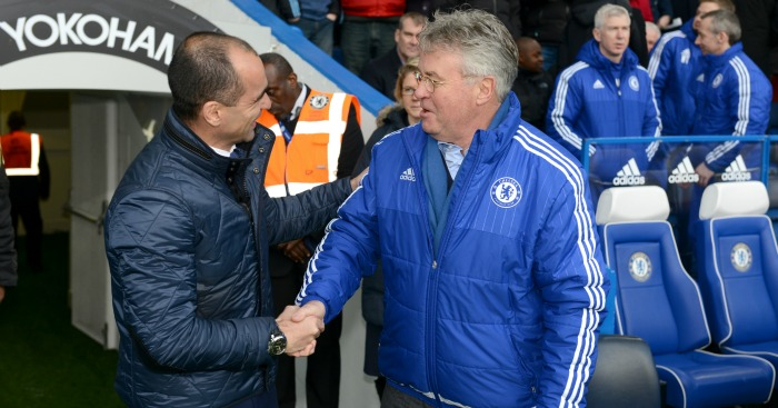 Guus Hiddink: All smiles with Roberto Martinez before kick-off