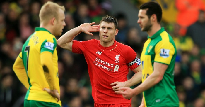 James Milner: Celebrates Liverpool's winner at Norwich