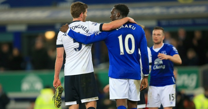 Jan Vertonghen and Romelu Lukaku: Embrace after Tottenham's draw at Everton