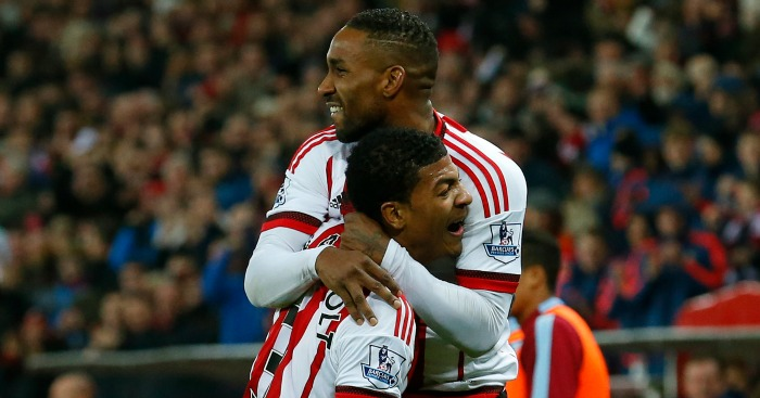Jermain Defoe: Celebrates with Patrick van Aanholt
