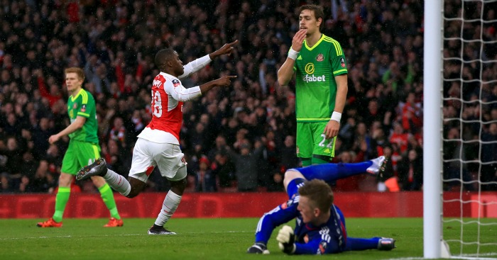 Joel Campbell: Celebrates Arsenal's equaliser