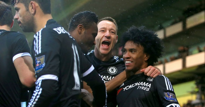 John Terry: Celebrates Willian's goal in win at Crystal Palace