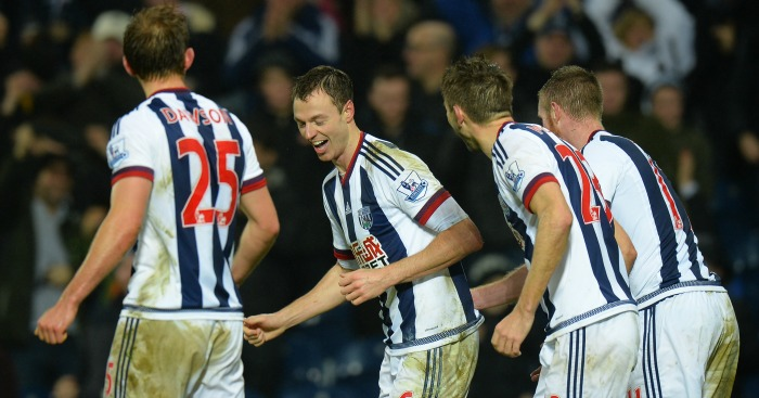 Jonny Evans: Enjoys his winner for West Brom with team-mates