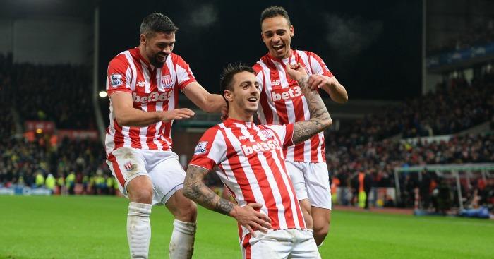 Joselu: Celebrates Stoke's second against Norwich