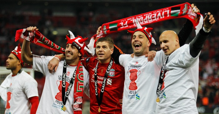 Liverpool Carling Cup celebration 2012
