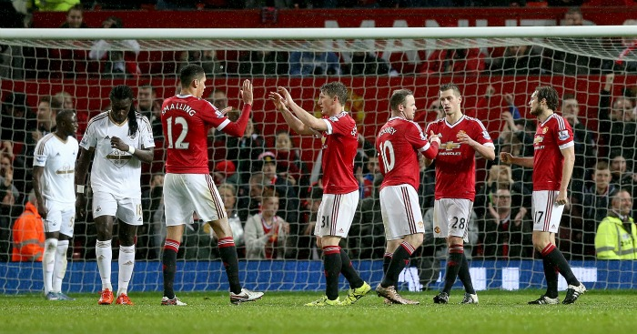 Chris Smalling: Celebrates during Manchester United's win over Swansea City
