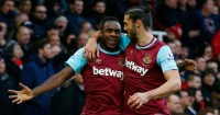 Michail Antonio: Celebrates with fellow goalscorer Andy Carroll