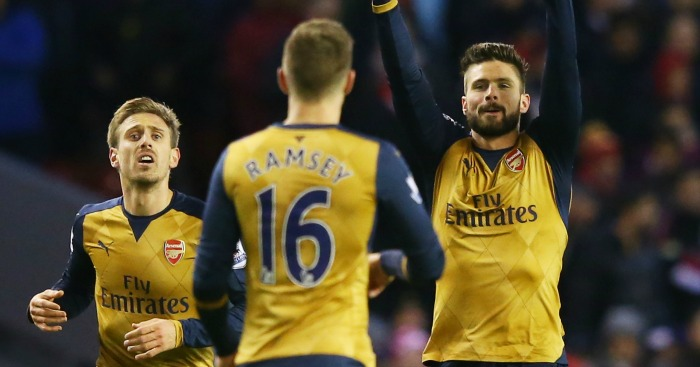 Olivier Giroud: Celebrates his equaliser for Arsenal at Anfield