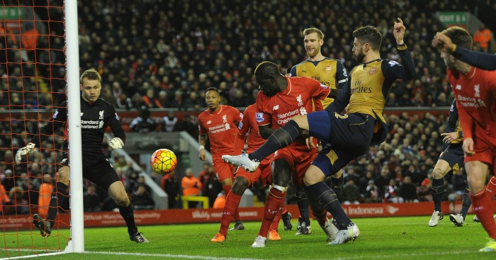 Olivier Giroud: Scores Arsenal's second goal against Liverpool