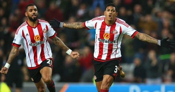 Patrick van Aanholt: Celebrates his goal for Sunderland