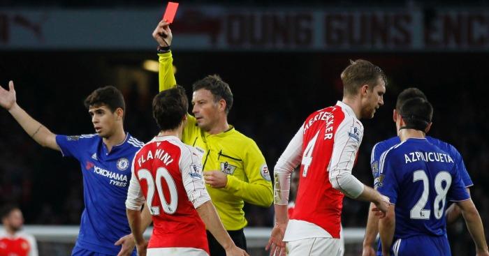 Per Mertesacker sent off Arsenal v Chelsea