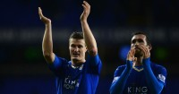 Robert Huth Christian Fuchs: Celebrate Leicester City's win at Tottenham
