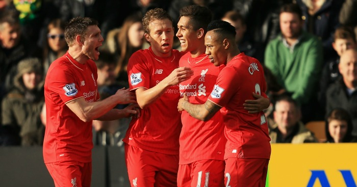 Roberto Firmino: Celebrates Liverpool's opener at Norwich