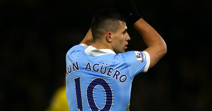 Sergio Aguero: Celebrates City's winner at Watford
