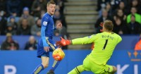 Jamie Vardy: Takes a shot at the Bournemouth goal