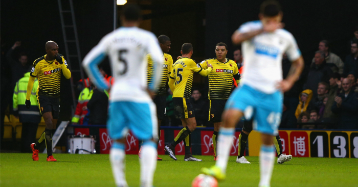 Troy Deeney (c): Celebrates his goal at Vicarage Road