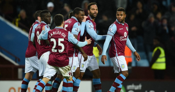Aston Villa: Players celebrate winner