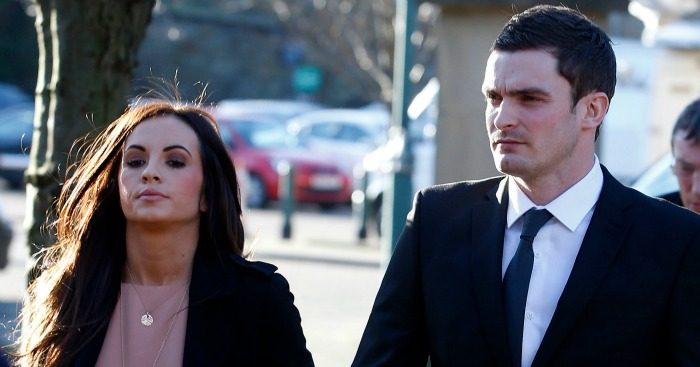 Adam Johnson: Arrives in court with partner Stacey Flounder