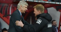 Arsene Wenger: Greets Eddie Howe before the match