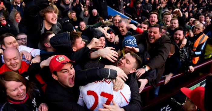 Divock Origi: Striker given celebratory kiss by fan