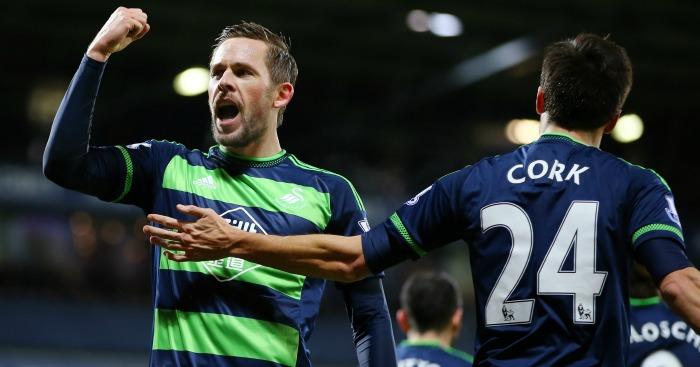 Gylfi Sigurdsson: Celebrates Swansea's goal