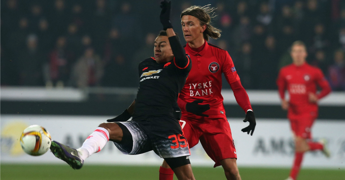 Kristoffer Olsson: Sticks the boot into Man Utd