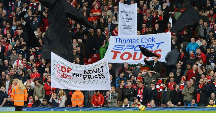 Liverpool fans ticket prices protest