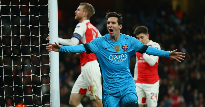 Lionel Messi: Scored two goals to defeat Arsenal
