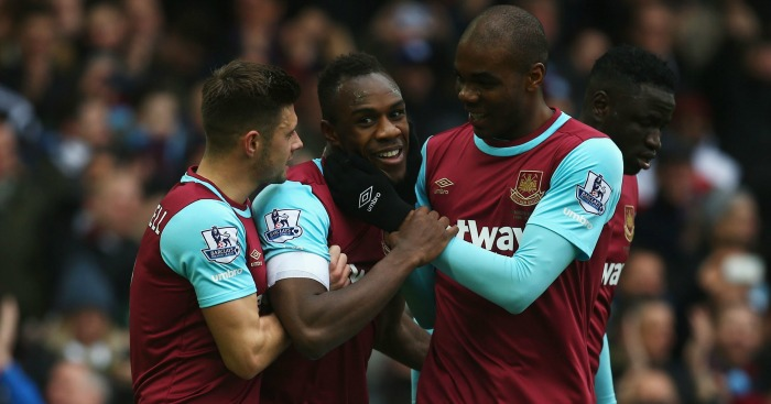 Michail Antonio: Celebrates his goal for West Ham