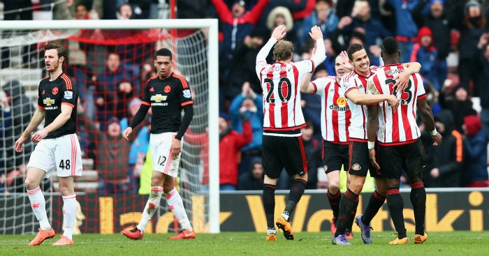 Sunderland: Celebrate their victory over Man United