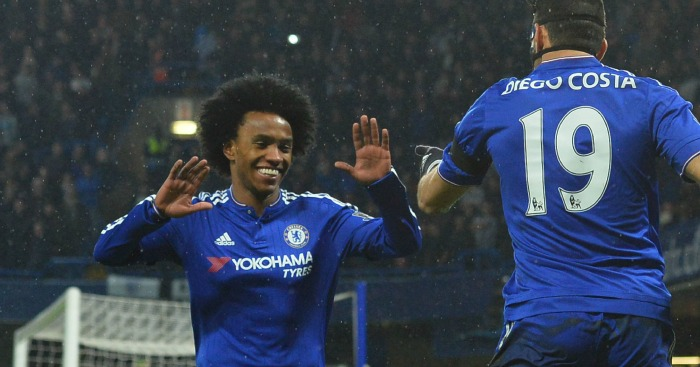 Willian: Celebrates Diego Costa's opener for Chelsea