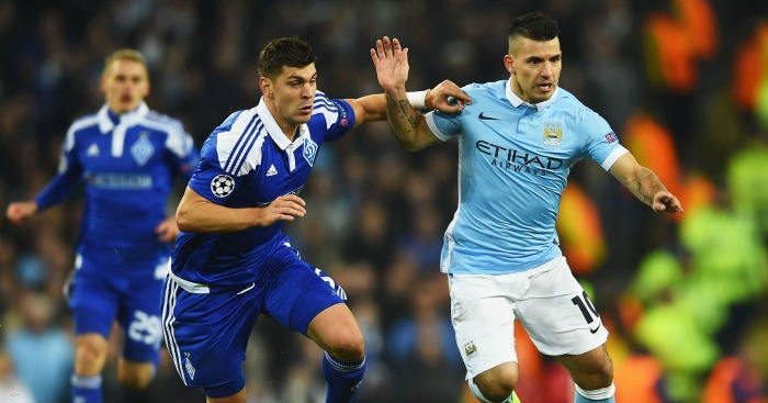 during the UEFA Champions League round of 16 second leg match between Manchester City FC and FC Dynamo Kyiv at the Etihad Stadium on March 15, 2016 in Manchester, United Kingdom.